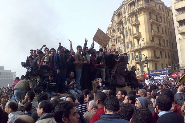 Demostrators in Tahrir Square. The Arab Spring was partly triggered by rising food prices caused by extreme weather