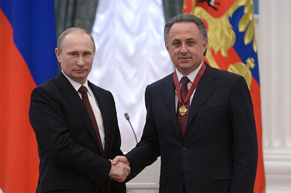 Vladimir Putin with his sports minister Vitaly Mutko