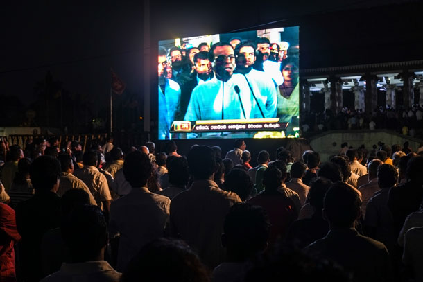 Screen At Maithripala Sirisena's Inauguration, Flickr by Indi Samarajiva